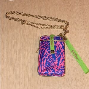 Lilly Pulitzer navy & pink ID card wallet w chain